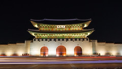 Gyeongbokgung Palace Gate (Jaredm2525) Tags: old longexposure travel color building architecture night buildings lights gate wideangle korea seoul foreign southkorea gyeongbokgungpalace