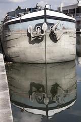 Ligne de flottaison (Gerard Hermand) Tags: paris france reflection water canon dock eau reflet pniche quai barge canaldelourcq rflexion formatportrait eos5dmarkii 1408057663 gerardhermand
