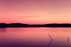 Stillness (AlyKPhoto) Tags: longexposure pink light sunset sun lake color macro nature water sunshine canon outside outdoors eos 50mm log warm purple sigma arkansas f28 ouachita sunflare 6d