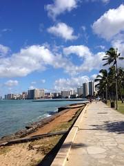 Walking along the beach at Queens Beach in Waikiki - Return to Hawaii 2014 (2) (litlesam1) Tags: hawaii waikiki oahu palmtrees beaches july2014 returntohawaiidaytwo2014