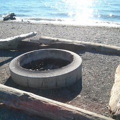"""Driftwood """"Benches"""" & Firepit (Heath & the B.L.T. boys) Tags: pugetsound beach driftwood firepit concrete instagram statepark"""