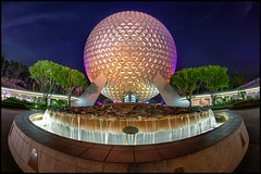 Empty EPCOT (Coasterluver) Tags: night epcot entrance disney waltdisneyworld hdr spaceshipearth andrewkirby coasterluver