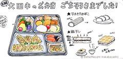 2014_08_27_bentou_01_s (blue_belta) Tags: food japan illustration sushi lunch sketch sketchbook bento japanesefood bentou fishcake coloredpencil midori colorpencil お弁当 寿司 washoku 弁当 色鉛筆 kamaboko 和食 スケッチ 箱寿司 obentou travelersnotebook トラベラーズノート ミドリ ランチボックス かもぼこ すとかまぼこ すまきかまぼこ 箱ずし