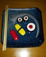 Play sushi - made out of sculpey clay (Steve W Lee) Tags: seaweed sushi clay chopsticks sculpey tuna tamagoyaki maguro nori playfood nigirisushi tunaroll sushiplate eggsushi magurosushi sculpeytoy playsushi tamagoyakisushi