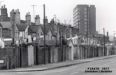 1977: Station Road, Rear of Gooch Street, Swindon (Local Studies, Swindon Central Library) Tags: bw swindon photograph noentry 1970s wiltshire 1977 washing washingline stationroad adver goochstreet wiltsnews p30570
