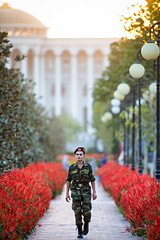 Tajik solider walks in Rudaki Park in Dushanbe, Tajikistan (damonlynch) Tags: park people plants man flower building male men hat walking religious soldier person uniform asia alone masculine walk military islam religion hats palace human solo government tajikistan dushanbe beret aloneness solitary centralasia humanbeing magichour humans goldenhour citypark municipalpark humanbeings governmentbuilding sunnimuslim rudakipark sunniislam militaryfatigues districtsofrepublicansubordination