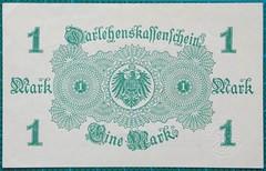 1914-DARLEHNSKASSENSCHEIN-EINE-MARK-REVERSE-47-D23 (noteworthycollectibles) Tags: germany paper deutschland mark silk imperial currency banknote notgeld seiden pfennig hyperinflation badische reichsbank emergencymoney darlehnskasse