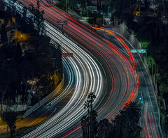 Curve Appeal (Wilkof Photography) Tags: hollywood hollywoodbowloverlook scenicoverlook hollywoodbowl losangeles california freeway highway architecture abstract canon contrast colorful city cityscape downtown urban commercial dark evening foliage hillside industrial landscape light land 70200mm 200mm lens longexposure le mountains motion lights lighttrails nature natural night outside perspective reflection roadside road cars traffic signs curve surreal trees wilkofphotography