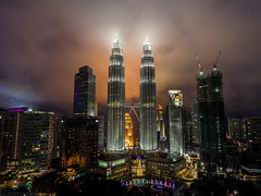 Twins (Mopple Labalaine) Tags: kl kuala lumpur malaysia petronas towers twin skyscraper building architecture clouds pentax night city adaptall tamron 17mm sp