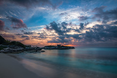 Sunrise at the Grand Sirenis Riviera Maya Resort, Mexico (Brian Krouskie) Tags: xaac akumal grand sirenis riviera maya mayan beach caribbean sea clouds sunrise sky rock coast landscape outdoor architecture ruin