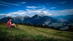 View of Innsbruck (Stephan Harmes) Tags: mountains alpen tirol innsbruck rosskogelhütte gras green blue sky women clouds wolken berge grün blau