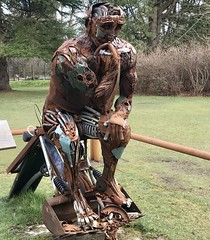 """The Re Thinker"" Sculpture Aberdeen Scotland. (Dano-Photography) Tags: crusty afterlife secondlife negelected rusty abandoned lucasdew hazelheadpark dano park aberdeen scotland scottish bonny bonnie 2017 iphone iphone7plus cameraphone mobilephone woods forest countryside nature schotland iskoçya skottland schottland albain шотландия škotija blue sky sun fleur danophotography danoaberdeen candid amateur"