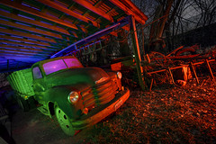 Rural Farm Truck III (Notley Hawkins) Tags: rural missouri notley notleyhawkins 10thavenue httpwwwnotleyhawkinscom missouriphotography notleyhawkinsphotography lightpainting bluelight greenlight blue green night nocturne 光绘 光繪 lichtmalerei pinturadeluz ライトペインティング प्रकाशपेंटिंग ציוראור اللوحةالضوء abandoned longexposure ruralphotography chartitoncountymissouri red redlight rgb outdoor 2017 riverbottoms missouririverbottoms truck farmtruck chevrolet march rafters roof ceiling