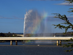 The fountain and the rainbow (Lesley A Butler) Tags: lake fountain australia canberra act lakeburleygriffin captaincookmemorialfountain
