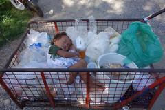 recycle boy (the foreign photographer - ) Tags: boy portraits thailand bangkok plastic bags cart asleep recycle khlong bangkhen thanon