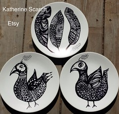Hand Decorated Plates by Katherine Scarritt on Etsy (8katherine8) Tags: blackandwhite art home illustration ceramic design pattern folk plates etsy recycle decor primitive reuse kcs upcycle katherinescarritt