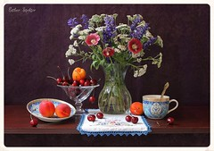 Witching Light (Esther Spektor - Thanks for 8 millions views..) Tags: flowers blue light red summer stilllife food orange brown white color reflection green art texture cup water glass beauty leaves yellow fruit composition canon cherry golden stand stem berry ceramics pattern purple embroidery availablelight burgundy violet lavender plate stilleben spoon fantasy vase apricot imagination esther bouquet hollyhock everydaylife doily tabletop bodegon cobalt naturemorte artisticphotography naturamorta spektor witching naturezamorta coth creativephotography artdigital artofimages exoticimage estherspektor
