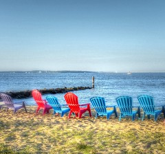 Chairs By the Bay(tonemapped) (podolux) Tags: beach water lumix chairs maryland annapolis chesapeake beachchairs 2014 photomatix annearundelcounty tonemapped tonemap photomatixformac dmcfz200 lumixdmcfz200 july2014