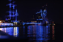 Blue Port Hamburg 2014 (5/5) [Explore] (Vasquezz) Tags: blue water port river licht wasser harbour hamburg explore blau hafen schiff elbe hamburgerhafen rickmerrickmers lichtkunst coth riverelbe capsandiego elbphilharmonie blueport flus museumsschiff coth5