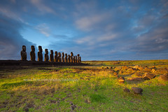 Fifteen Moai of Tongariki (baddoguy) Tags: chile sky grass ancient space images getty moai easterisland fifteen rapanui isladepascua tongarik