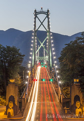 Lions Gate Bridge (Rick Deacon) Tags: longexposure nightphotography canada vancouver britishcolumbia lighttrails lionsgatebridge