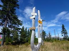 Riesengebirge-Medvedin-zur Elbquelle-Wegweiser (gerhard_hohm) Tags: nationalpark tschechien elbe labe riesengebirge elberadweg spindlermühle elbquelle pramenlabe medvêdin spindlerûvmlýn ceskárepublikakrkonose