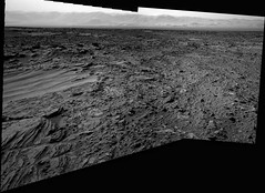 Across the Floor of Gale Crater (sjrankin) Tags: panorama mars mountains evening sand rocks edited nasa depression grayscale dust scallop curiosity craterrim msl sanddrifts layeredrocks galecrater rimmountains 28july2014