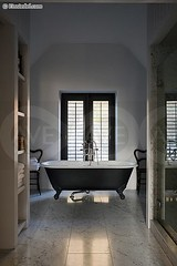 KEECO045 (nexusgoddess) Tags: winter england white black english home window architecture modern bathroom countryside designer contemporary interior cottage nobody cotswolds symmetry storage symmetrical bathtub marble shelving interiordesign floortile freestanding verticalimage homeinterior keeperscottage lesleycooke
