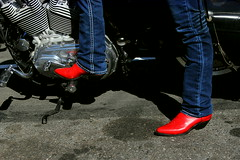 Deb's new red boots (The Photography Elf) Tags: friends motorcycles riding moto motorbikes bikers grouprides