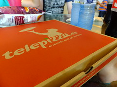 At last! (stevenbrandist) Tags: red food holiday airport spain pizza espana alicante cardboard carton telepizza familyholiday