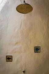 Pet's Shower (lothar1908) Tags: canon shower 5dmarkiii ef247028ii formentera doccia grafiti wall muro colori fish pesce elefante disegno minimalism rubinetto ocra ombre dettagli details indoorshower pueblobalear
