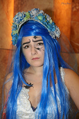 Sad Girl (wyojones) Tags: woman usa girl eyes texas sad cosplay expression houston browneyes sorrow bluehair eyebrows greenspoint houstoncon wyojones