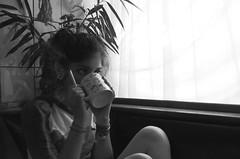 b&n (Kate La Rondo) Tags: white black girl tea smoke cigar