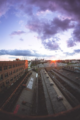 (Jeffrey Stroup) Tags: city sunset ohio sky abandoned rooftop colors skyline clouds graffiti midwest colorful cleveland fisheye climbing urbanexploration urbex
