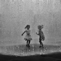 hot town, summer in the city (donvucl) Tags: bw london fountain kids play southbank sqaureformat donvucl olympusm43