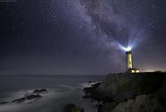 The matchstick. (Sapna Reddy Photography) Tags: ocean california sky lighthouse water night stars landscape nikon rocks pacific galaxy astrophotography pescadero milkyway
