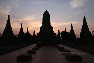 Ayutthaya, Wat Chai Watthanaram, sunset