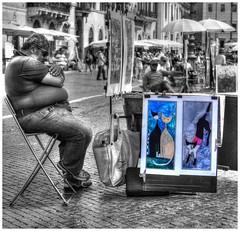 Il gatti di Roma (kurtwolf303) Tags: street italien people italy cats rome roma topf25 painting topf50 artist italia 500v20f paintings streetphotography menschen painter piazzanavona rom hdr 800views omd 1000views künstler gemälde 900views urbanlifeinmetropolis 750views 1500v60f 1000v40f 250v10f systemcamera unlimitedphotos micro43 microfourthirds olympusem5 minimum700v