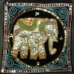 sparkly elephant (muffett68 ☺☺) Tags: elephant sequins embroidery purse bag pocketbook squareaspect psl explore398 31517