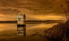 Reflections in sepia. (darklogan1) Tags: toledo spain water nightphotography clouds longexposure night lake serene sepia logan darklogan1