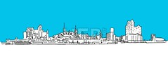 Hamburg Panorama Vector sketch, blue sky (Hebstreits) Tags: abstract aster attractions background black bridge building church city contour drawing elbe elphilharmony hamburg hamburger havencity line monument museum panorama port silhouette sketch skyline skyscraper store televisiontower tourism townhall university vector water white