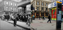 Camden High Street`1952-2017 (roll the dice) Tags: london nw1 camden old retro bygone nostalgia streetfurniture architecture onemanband crowd fun sad mad woolies picknmix sweets kids corner pub publichouse boozer comparison people oldandnew pastandpresent hereandnow uk classic art urban england canon tourism watneycombereid londonist changes collection beer wine ale map sportsdirect bargain sale shopping shops fashion stout sounds drum lights