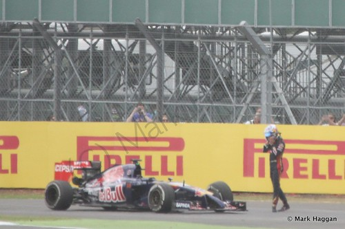Jean-Eric Vergne's Toro Rosso stuck during Free Practice 2 at the 2014 British Grand Prix