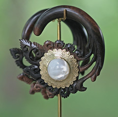 "Wood with Brass and Mother of Pearl Inlays Ear Hangers • <a style=""font-size:0.8em;"" href=""http://www.flickr.com/photos/122258963@N04/14447615055/"" target=""_blank"">View on Flickr</a>"