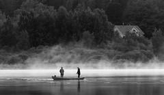 Gone fishing (Antti Tassberg) Tags: blackandwhite bw lake monochrome espoo suomi finland evening boat twilight fisherman fisher scandinavia ilta vene järvi uusimaa pitkäjärvi kalastaja laaksolahti