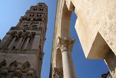 Vertical Split (little_frank) Tags: above summer sculpture building tower art heritage geometric church beautiful up lines vertical architecture composition facade wonder design ancient cathedral symbol roman pov geometry antique space exploring famous columns over azure croatia style sunny arches landmark palace medieval belltower pointofview limestone corinthian marble split visiting virginmary past complex remains middleages croazia towards dalmatian surfaces touristattraction imposing spaces romans masterpiece verticality antiquity spalato dalmatia toward distinctive admirable geometries diocletianspalace svetiduje dioklecijanovapalaa hvartska imponence saintdomnius emperordiocletian svetidujam