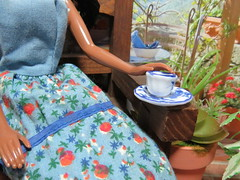 (4) A Cup of Fresh Coffee (Foxy Belle) Tags: blue food white plant black scale coffee face outside miniature 1982 doll play calendar african background barbie scene malibu patio deck american porch christie 16 dishes 1980s diorama dollhouse steffie sculpt sunsational