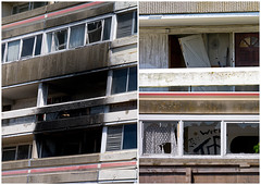Vandalism, Arson and Shattered Dreams (fstop186) Tags: street urban broken lumix fire triptych apartments decay balcony scene demolition architectural panasonic flats crime montage drugs dreams vandalism curtains torn block storey g3 shattered multi arson blackened gosport rowner