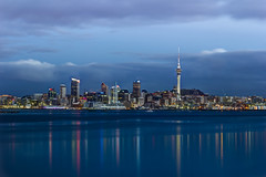 Auckland City in blue hour (olofolsson) Tags: winter newzealand night landscape auckland bluehour portfolio hdr skytowercityscape