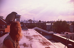 the thing about rooftops (d▲sh) Tags: nyc roof film brooklyn analog 35mm rooftops kodak contax chrome elite 200 series t3 expired select